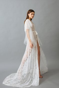 """Lace Robe with Airy Sleeves """"Maria"""" Lace Bridal Robe, Lace Lingerie Set, Bridal Robes, Wedding Lingerie, Luxury Lingerie, Sexy Gown, Honeymoon Lingerie, Glamour, Night Gown"""