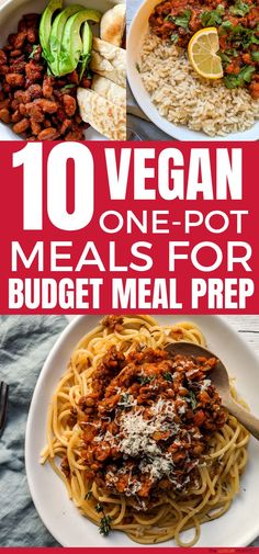 10 Vegan One-Pot Meals For Quick, Healthy Dinner Ideas Vegan one-pot meals for budget meal planning. These one-pot dinner ideas are perfect for a plant-based diet and anyone looking for meatless meal ideas for cheap, healthy vegan recipes. Cheap Healthy Dinners, Cheap Vegetarian Meals, Quick Cheap Meals, Quick Vegan Meals, Healthy Meals For One, Healthy Recipes On A Budget, Vegan Dinners, Vegan Recipes Easy, Meatless Recipes