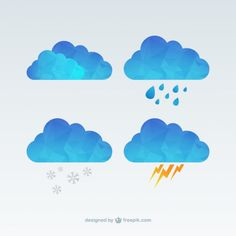 Polygonal clouds Free Vector