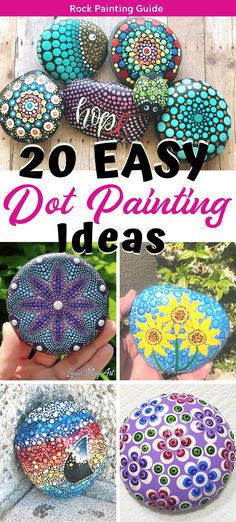 20 Easy Dot Painting Ideas Do you love dot painting? Try our 20 easy dot painting ideas for rock painting. Perfect for Mandala stones and painted rocks. Rock Painting Patterns, Rock Painting Ideas Easy, Dot Art Painting, Rock Painting Designs, Pebble Painting, Rock Painting Kids, Dot Painting On Rocks, Paint Patterns, Doodle Patterns