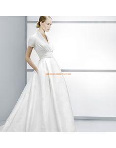 Moderne V-Ausschnitt kurze Ärmel A-linie Hochzeitskleider aus Satin- Jesús Peiró