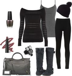"""""""Leggings and Boots Look #1"""" by socialcafemagazine ❤ liked on Polyvore"""