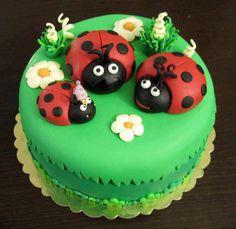 Green lady bug cake
