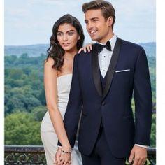Navy Midnight Blue Tuxedo with Black Lapel Slim Fit One Button - Wedding
