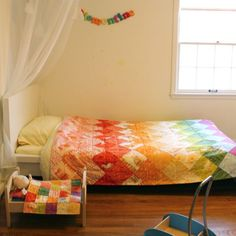 Heather ross rainbow quilt made by Rae
