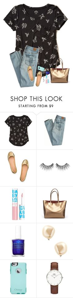 """i really want a pair of tory burch revas!"" by blonde-prepster ❤ liked on Polyvore featuring Hollister Co., American Eagle Outfitters, Tory Burch, MAKE UP FOR EVER, Maybelline, Kenneth Jay Lane, OtterBox and Daniel Wellington"