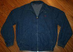 Polo Ralph Lauren Denim Jacket Men's Medium jean zip golf driving racing #PoloRalphLauren #JeanJacket