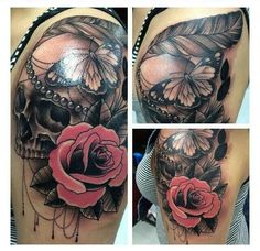 Awesome rose skull tattoo