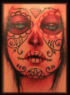 Mike Diaz Tattoo of sugar skull girl