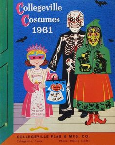 A small sampling of the 1961 Collegeville Costumes Catalog is the subject of today's post. In fact, the cover is really the highlight here, . Happy Halloween, Retro Halloween, Halloween Items, Halloween Masks, Holidays Halloween, Haunted Halloween, Halloween Goodies, Halloween 2016, Creepy Halloween