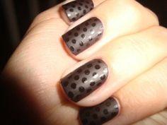 black on black polka dot nails