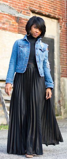 all black+pleated skirt+ distressed denim jacket+ indianapolis styleblog+ black pleated skirt, spring outfit idea