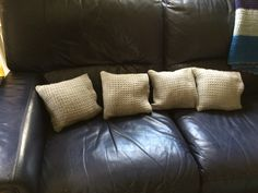 Four little waffle weave cushions from the loom