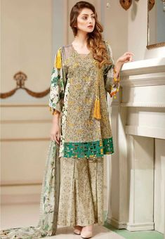 Warda Mystic Island Digital printed embroidered Eid dress with chiffon dupatta Simple Pakistani Dresses, Pakistani Fashion Casual, Pakistani Dress Design, Pakistani Outfits, Pakistani Clothing, Stylish Dresses For Girls, Stylish Dress Designs, Simple Dresses, Casual Dresses