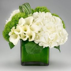 Parties flowers green white hydrangeas pinterest jadis a modern arrangement of white hydrangeas calla lilies green dianthus mightylinksfo