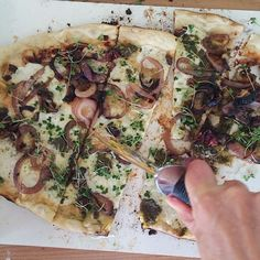Grilled Homemade Roberta's Pizza Dough (thanks Ling Li) with Roasted Garlic, Pesto, Olive Oil…