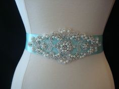 Bridal Sash - Wedding Dress Sash Belt -Tiffany Inspired Aqua Blue Pearl and Rhinestone Sash - Aqua Rhinestone Bridal Sash Bridal Sash Belt, Wedding Dress Sash, Wedding Belts, Blue Wedding Dresses, Bridal Belts, Blue Weddings, Wedding Flowers, Crazy Quilting, Rhinestone Dress