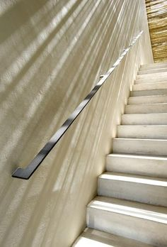 New Stairs Steel Railing Simple Ideas Staircase Handrail, Steel Handrail, Interior Staircase, Metal Handrails For Stairs, Concrete Stairs, Basement Stairs, House Stairs, Railing Design, Staircase Design