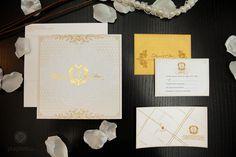 Golden Elegant Wedding Invitations for Diana + Elias