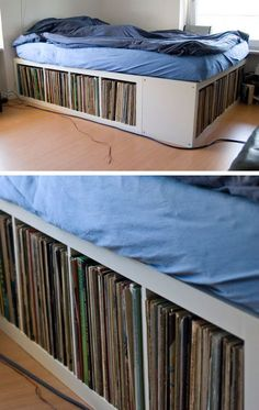 Expedit Bed Frame Storage Hack | Click Pic for 25 DIY Small Apartment Decorating Ideas on a Budget | Organization Ideas for Small Spaces