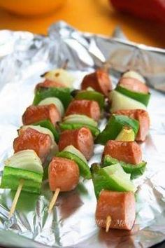 Kabobs - sausage, green pepper & onion