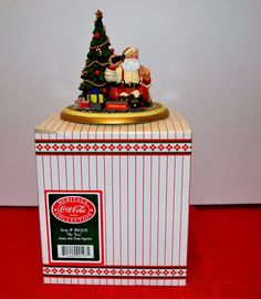 "COCA COLA CLASSIC SANTA CLAUS WITH TRAIN ""ME TOO"" FIGURINE TABLE PIECE 5.25"""