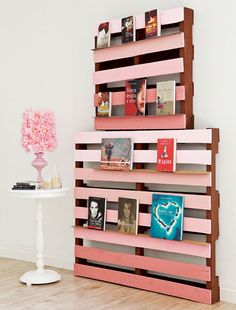 wood pallet projects home diy shelf pink  www.diy-enthusiasts.com