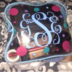Monogrammed cosmetic bag Polkadots available in three colors PINK Victoria's Secret Bags Cosmetic Bags & Cases