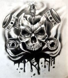 skull pistons and spark tattoo                                                                                                                                                                                 Mehr