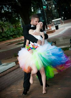 Rainbow Wedding Dress by SparkleFide on Etsy, $900.00 ...If I were to do it all over again... this would be the dress! <3