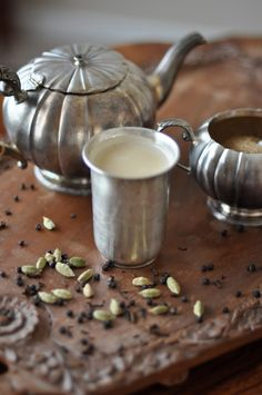 Recipe: Masala Chai  Serves 4 You'll need:  water, freshly grated ginger, freshly ground black pepper, 4 whole cloves, 4 cardamom pods, 1 cinnamon stick, whole milk, demerara sugar, loose black tea, preferably a malty Assam directions on website
