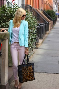 brooklyn blonde Easter egg (H&M Trend blazer, Louboutin shoes, J.Crew tee, H&M pants, ASOS tote, 7FAM sunglasses c/o. bracelets: Kate Spade Anchor, J.Crew.)