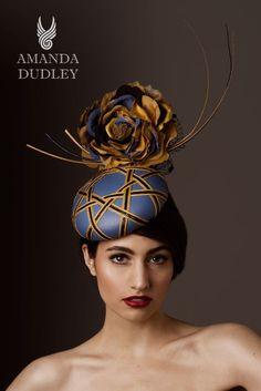 For Sale. Re Egyptian blue leather button base with interwoven vintage Swiss gold and navy braid. From the Egyptian Geometric collection. Contact www.amandadudley.net for bespoke millinery orders.