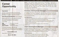 *Brac, Position: Business Development Manager, Client Development Manager.* Brac, Position: Business Development Manager, Client Development Manager. Source: The Daily Star, Date of Publication March 13, 2015. #leading #job #newspaper #jobs #ngo #brac #ব্র্যাক #এনজিও #চাকরি #খবর #নিয়োগ #চাকরির #business #development #manager #client #2015 #circular #in #bd #news