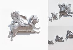 Three silver flying wall hanging Pug gifts