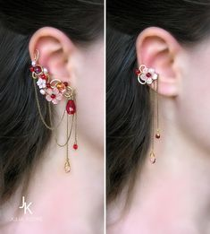 "Floral brass ear cuffs with chains and mother of pearl ""Winter plum wine"" JewelryJS especially love the smaller cuff Jewelry Design Earrings, Ear Jewelry, Cute Jewelry, Body Jewelry, Bridal Jewelry, Jewelry Accessories, Fashion Accessories, Fashion Jewelry, Skull Jewelry"