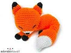 Cute Sleepy Fox Amigurumi Plush Doll Toy  - PRE ORDER - Choose color on Etsy, $35.00
