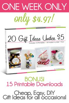 Make your holiday stress free with this E-Book. 20 Gift Ideas For Under 5 dollars PLUS 15 printables. On sale NOW at lilluna.com!!