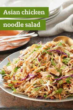 Asian Chicken Noodle Salad – This fabulous-looking Asian Chicken Noodle Salad is easy to make, thanks to a coleslaw blend, a ramen noodle soup mix, and a spoonful of peanut butter. Plus, this easy summer side-dish is ready in just 10 minutes.