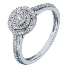 9ct white gold 20 point diamond double halo cluster ring- Ernest Jones