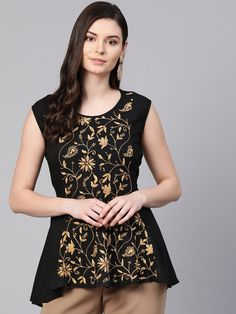 Ada #handembroidered Black Cotton Lucknow Chikan Top–A100382 is bedecked with Fawn cotton needle work.  #AdaChikan #chikankari #handcrafted #chikan #cotton #lakhnavi #lucknowi
