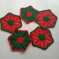 Cotton coasters Crocheted coasters Set of 5 coasters. por MyHDesign
