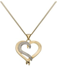 Buy 9ct Silver and Gold Plated Diamond Heart Pendant at Argos.co.uk - Your Online Shop for Ladies' necklaces.