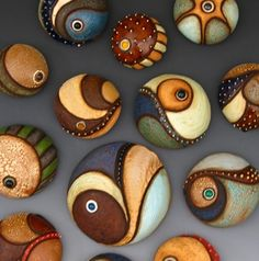 painted stones. I love these natural paint colors.