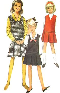 1960s Jumper Blouse Pattern Simplicity Sewing Pleated Skirt Vintage Uncut Girls Size 7 Breast 25 Inches