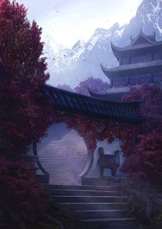 I love this picture it makes me think of the gate I envision at the entrance of the Winter Guild hall for my Wielder's series Fantasy Art Landscapes, Fantasy Landscape, Fantasy Artwork, Aesthetic Japan, Aesthetic Art, Sky Lanterns, Japon Illustration, Fantasy Places, Anime Scenery Wallpaper