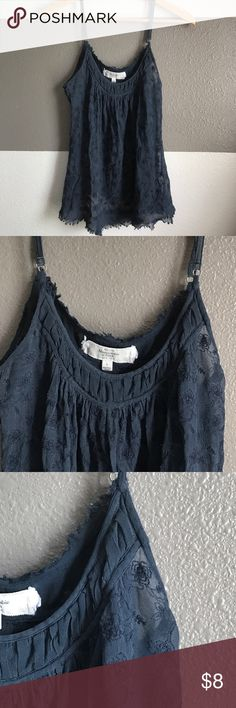 Sheer Abercrombie layering top ❤️ Abercrombie & Fitch | Size:Large | Navy Blue-Sheer Floral Print | Abercrombie & Fitch Tops
