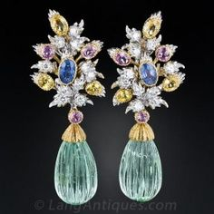 Buccellati Green Beryl, Diamond and Multi-Color Sapphire Earrings - Spectacular vintage ear drops in sparkling spring colors. A matched pair of large green beryl briolettes (the same gemstone family as emerald and aquamarine) swing and sway below a festive array of diamonds and multi-color sapphires. The tops are detachable and can be worn alone as earclips.  Rare, wonderful, unique and versatile.