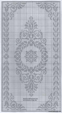 Scheme crochet no. Filet Crochet Charts, Crochet Cross, Crochet Diagram, Crochet Home, Crochet Motif, Crochet Doilies, Cross Stitch Borders, Modern Cross Stitch, Cross Stitch Designs