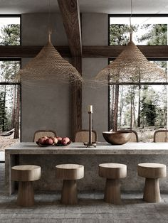 Home in Forest on Behance Interior Rendering, Interior Architecture, Interior Design, Tropical Architecture, Casa Wabi, Modern Dining Room Lighting, Casa Cook, Forest House, Küchen Design